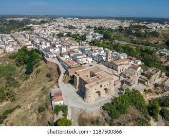 Panoramic view of Bernalda, in the province of Matera, Basilicata. Aerial view