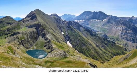 Panoramic View of Bernatuara Lake in Tena Valley in The Pyrenees, Huesca, Spain.