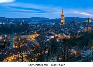 Panoramic view of Bern's old town's skyline at twilight. Bern, Switzerland.