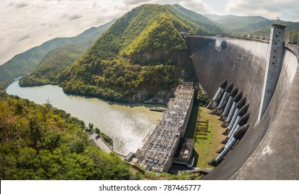 Panoramic view of Bhumibol Dam, Concrete arch dam situated on the Ping River with Hydroelectric power station in Tak province, Thailand