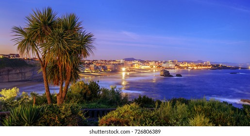Panoramic view of Biarrtiz city, Bay of Biscay, Pyrenees mountains on the Atlantic coast, Basque Country, France