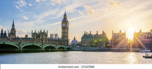 Panoramic view of Big Ben clock tower in London at sunset, UK.