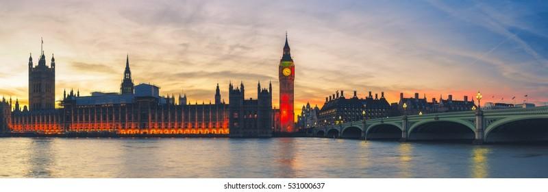 Panoramic view of Big Ben in London at sunset, UK.