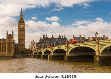 Panoramic view with Big Ben, Westminster Bridge and Houses of Parliament, London, UK