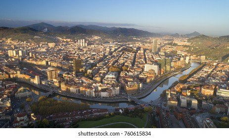 Panoramic view of  Bilbao city at sunrise .  Aerial photography