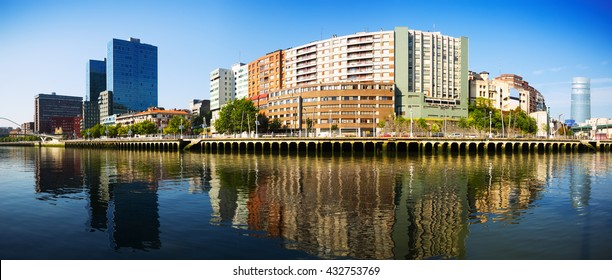 Panoramic view of Bilbao. Embankment of  river and residential houses. Bilbao, Spain