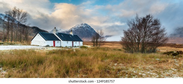A panoramic view of Blackrock cottage at Glencoe in the Highlands of Scotland