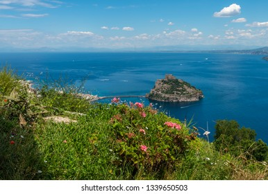 Panoramic view from the blooming hill to the Neapolitan Gulf and the Aragonese Castle. Ischia, Italy