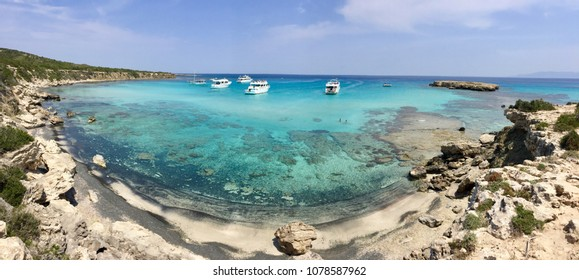 Panoramic view of the Blue Lagoon near Polis City. Akamas Peninsula National Park, Cyprus
