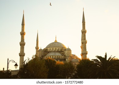 Panoramic view of the Blue Mosque at sunset in Istanbul in Turkey.