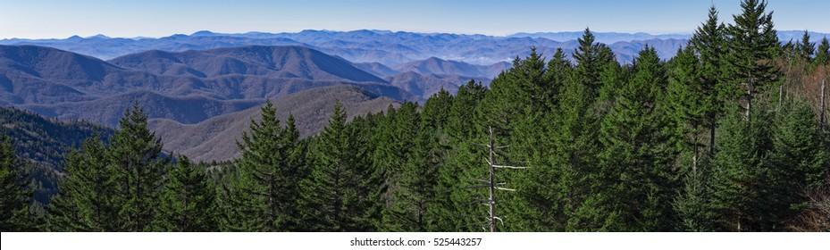 Panoramic view from the Blue Ridge Parkway, near Great Smoky Mountains National Park, North Carolina, USA.