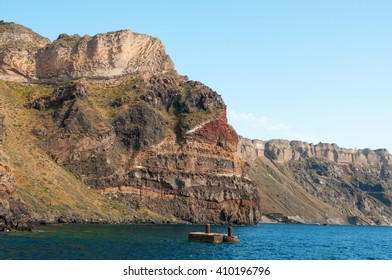 Panoramic view from the boat,  Santorini island, Greece