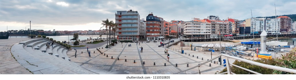 Panoramic view of Boats square in Sanxenxo touristic city