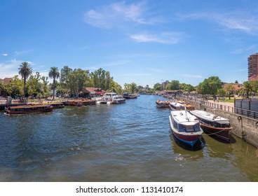 Panoramic view of Boats at Tigre River - Tigre, Buenos Aires, Argentina