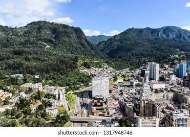 Panoramic view of Bogota D.C and the Colpatria Tower, Landmark of Bogota city
