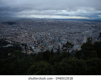 Panoramic view of Bogota downtown financial business district skyscrapers from Monserrate cable car funicular teleferico Cundinamarca Capital District Colombia