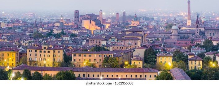 Panoramic view of Bologna center at dusk with the famous towers, included the most famous asinelli's