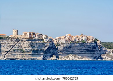 Panoramic view of Bonifacio from the sea, Corsica, France