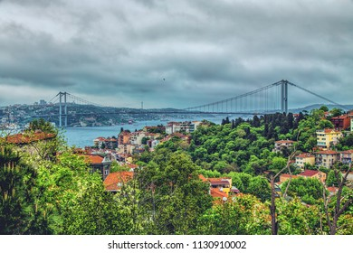Panoramic view of Bosphorus and Bosphorus Bridge from the hilltop of Kuzguncuk, small district at the coastline of Bosphorus, Istanbul, Turkey