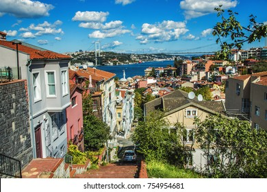 Panoramic view of Bosphorus and Bosphorus Bridge from the hilltop of Kuzguncuk, small district at the coastline of Bosphorus, Istanbul
