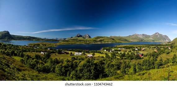 Panoramic view to Bostad village and Borgpollan fjord from Torvdalshalsen viewpoint, Vestvagoy Island, Lofoten, Norway