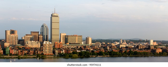 Panoramic view of the Boston, MA riverfront neighborhoods of Back Bay and Brookline, including the landmark Prudential Tower. Seen from near Kendall/MIT across the Charles river in Cambridge, MA.