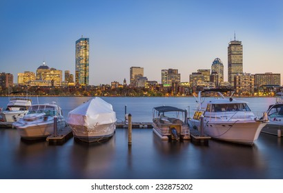 Panoramic view of Boston in Massachusetts, USA at sunset showcasing the architecture of its Financial District by the Charles River.