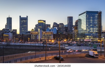 Panoramic view of Boston in Massachusetts, USA at sunset showcasing the architecture of its Financial District at Back Bay.