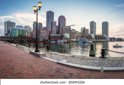 Panoramic view of Boston in Massachusetts, USA at sunset at Back Bay.