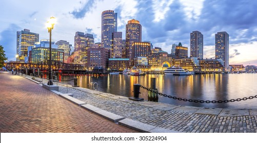 Panoramic view of Boston in Massachusetts, USA at sunset showcasing the historic architecture of Back Bay in the summer.