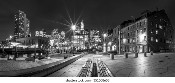Panoramic view of Boston in Massachusetts, USA at night in black and white.