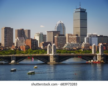 Panoramic view of Boston in Massachusetts, USA on a sunny summer day.