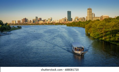 Panoramic view of Boston in Massachusetts, USA at sunset on a sunny summer day.