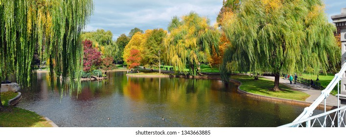Panoramic view of Boston Public Garden in the Autumn. Colorful fall foliage and water reflections from lagoon bridge