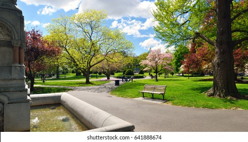 Panoramic view of Boston Public Garden