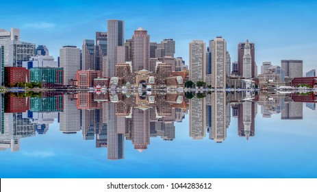 Panoramic view of Boston skyline with its reflection. Boston, USA.