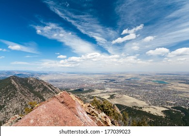 Panoramic view of Boulder, Colorado from the top of a Mountain