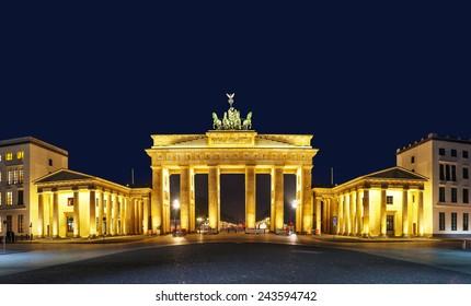 Panoramic view of Brandenburg gate (Brandenburger Tor) in Berlin, Germany at night