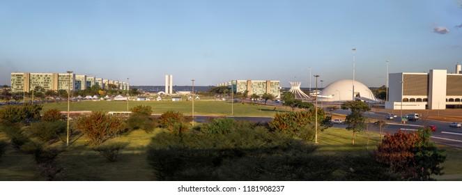 Panoramic view of Brasilia and Esplanada dos Ministerios (Esplanade of the Ministeries) - Brasilia, Distrito Federal, Brazil