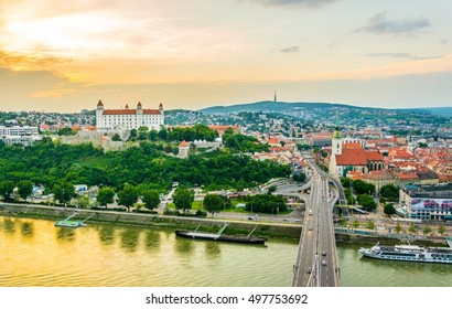 Panoramic view of Bratislava with the Castle, Saint Martin cathedral and Old Town at Sunset
