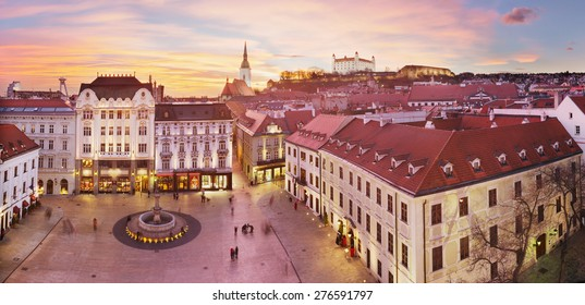 Panoramic view of Bratislava with sunset