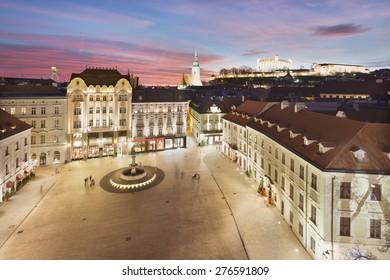Panoramic view of Bratislava with sunset