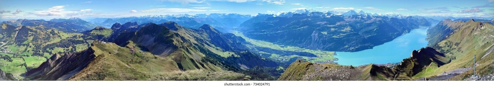 Panoramic view of Brienz, Lake Brienz, and the stunning view of mountain range in a beautiful day, Jungfrau region, Switzerland