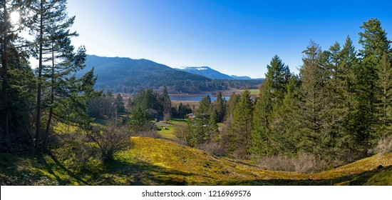 Panoramic view of Bright Angel park in Duncan, Vancouver Island, British Columbia