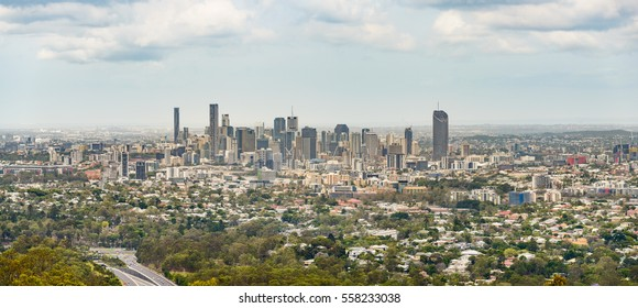Panoramic view of Brisbane central business area and surrounding suburbs.