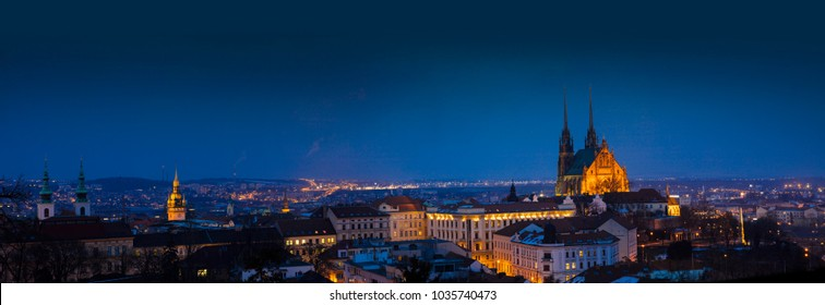 A panoramic view of Brno Cathedral and skyline at night, Brno, Czech Republic, Europe - February 22nd 2018