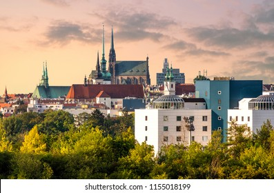 A panoramic view of Brno Cathedral and skyline, Czech Republic
