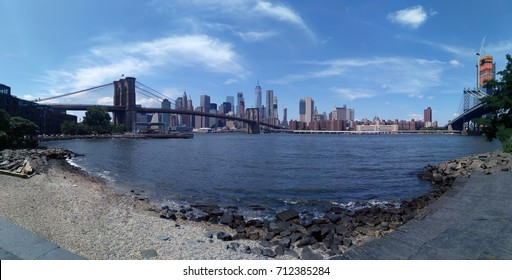 Panoramic view from Brooklyn to Lower Manhattan across the Hudson river