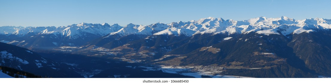 Panoramic view of Bruneck ond Pustertal from the summit of Kronplatz