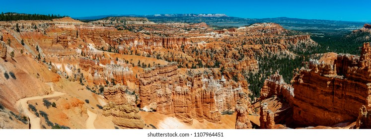 Panoramic View of Bryce Canyon National Park From the Rim Trail. A popular trail above Bryce Canyon that connects all the scenic overlooks from Fairyland Point to Bryce Point.